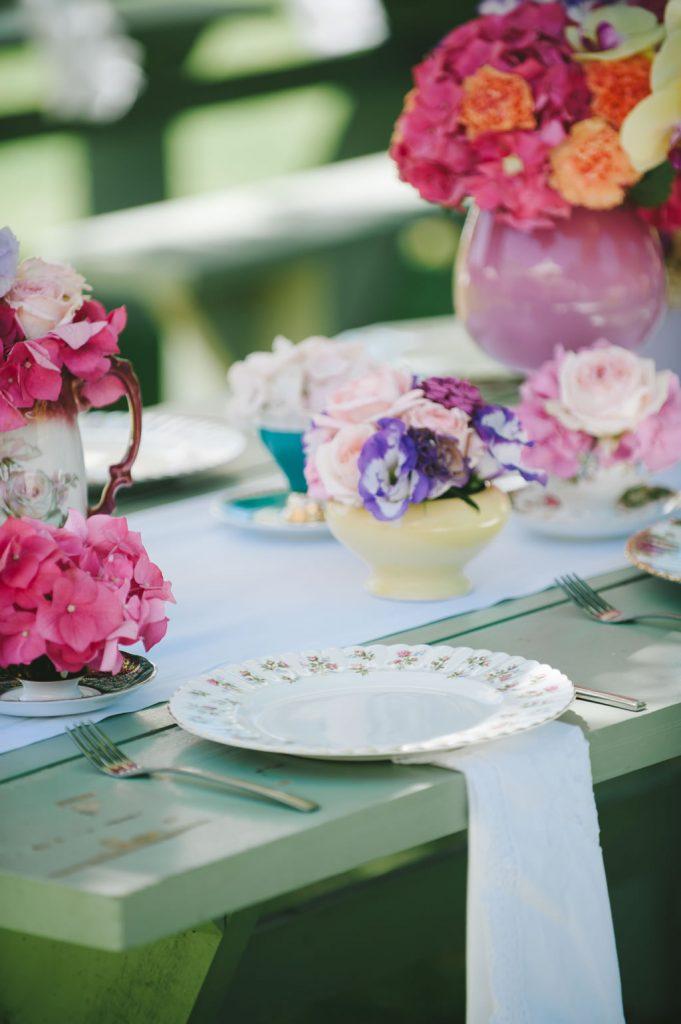 Soft Coloured Flower Decor at Wedding Reception at Zorgvliet