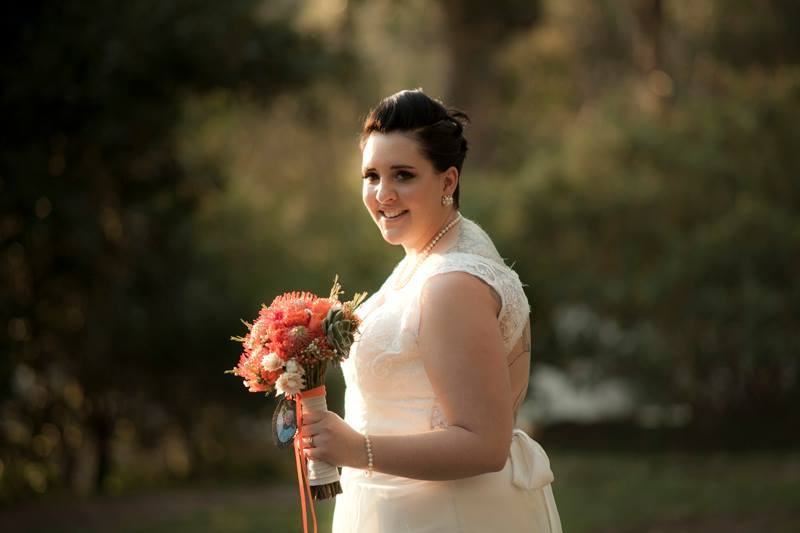 Close up of beautiful bride on a lawn in the Hout Bay mountain