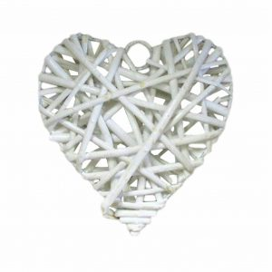 Accessories Heart White Wicker Medium 10x10cm
