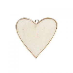 Accessories Heart White Wood Flat Medium in size 10x10cm