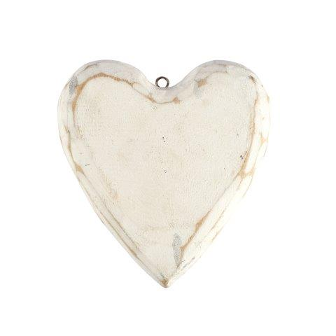 Accessories Heart White Wood Rounded Medium in size 14x14cm