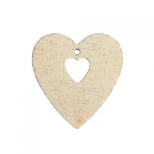Accessories White Double Heart Wood 6x7cm