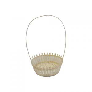Basket White Wicker Tall Handle