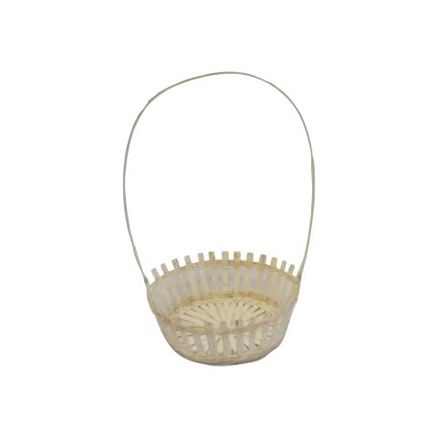 Basket White Wicker Tall Handle