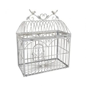 Birdcage Rect Grey Heart Medium