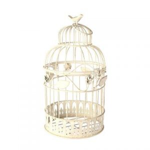 Birdcage Round Cream Bird Rose Leaf Medium