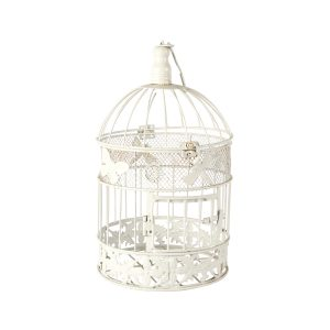 Birdcage White Round Medium