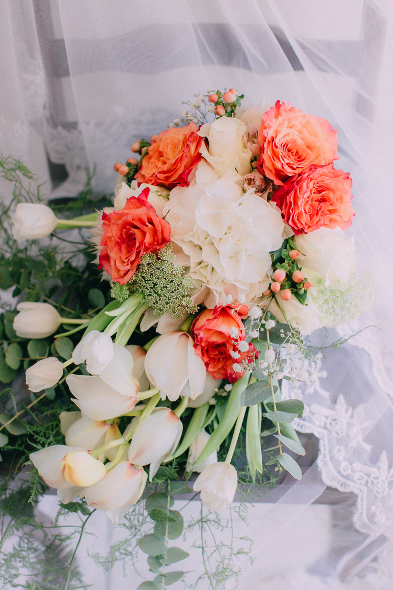 Bouquet of Orange Roses and White Tulips