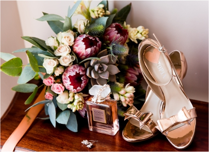 Bridal Bouquet Of Flowers Shoes And Perfume