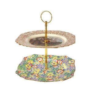 Cake Stand  Tier Gold Orange Yellow Rose