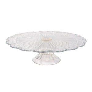 Cake Stand Glass Flat  Tier Leaf cm