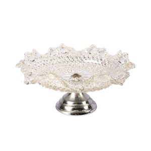 Cake Stand Ripple Edge Silver Base  Tier