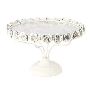 Cake Stand White Rose  Tier