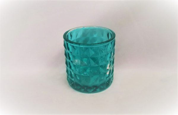 Candle Holder Aqua Diamond Votive