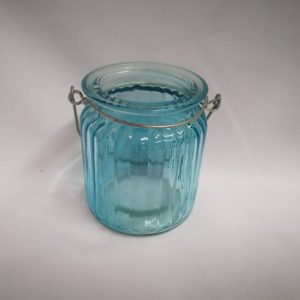Candle Holder Aqua Ripple with Handle