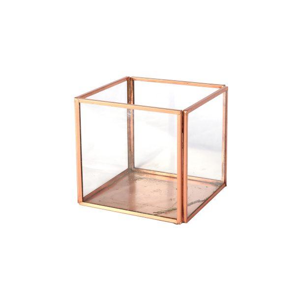 Candle Holder Copper Glass Cube Medium cm