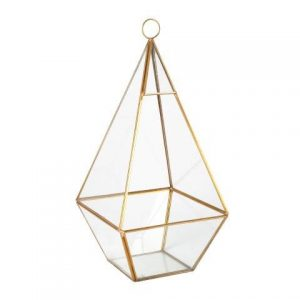 Candle Holder Glass Gold Terrarium X