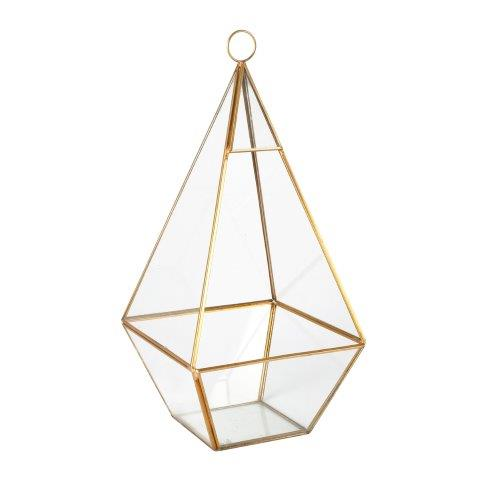 Candle Holder Glass Gold Terrarium X