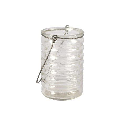 Candle Holder Glass Ripple Lantern with Handle