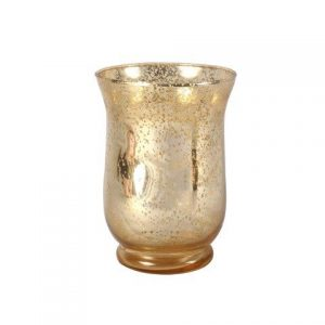 Candle Holder Gold Mottled Hurricane Medium