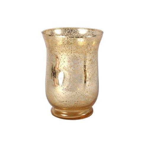 Candle Holder Gold Mottled Hurricane Medium