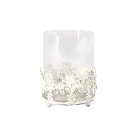 Candle Holder Grey Metal Glass