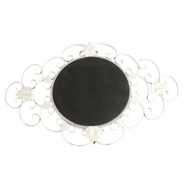 Chalkboard Metal Leaf White Round cm