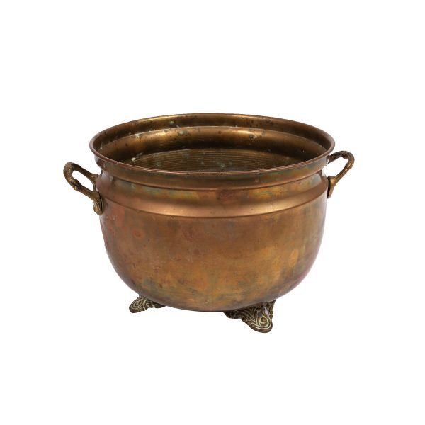 Container Brass Bowl Large with Handle  feetx