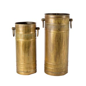 Container Brass Tall with Handles