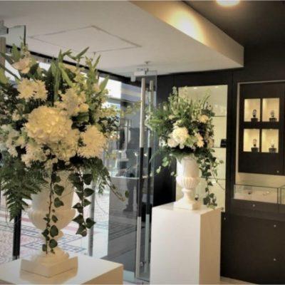 Corporate Floral Classic Design White Urn Decor