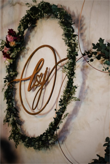Custom Metal Wreath Bridal Couples Initials
