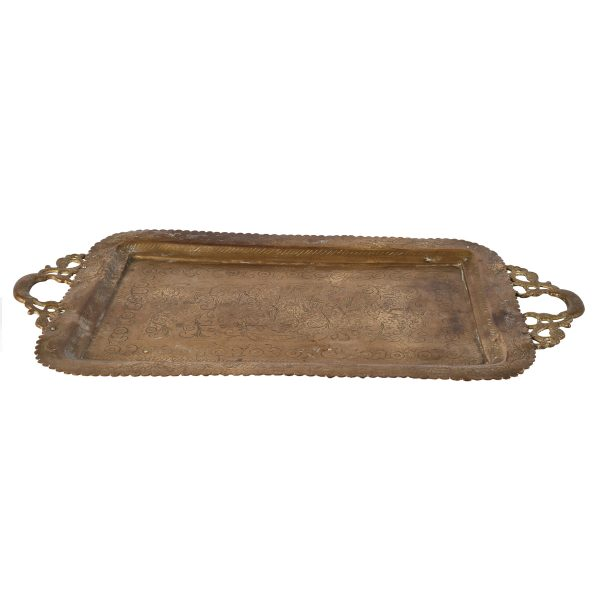 Dinnerware Brass Tray Rect with Handles