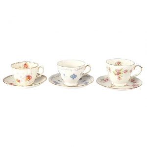 Dinnerware Ceramic Vintage Tea Cup Trio