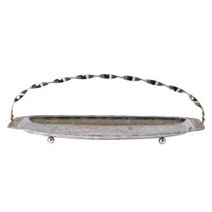 Dinnerware Silver Tray Rect Twisted Handle