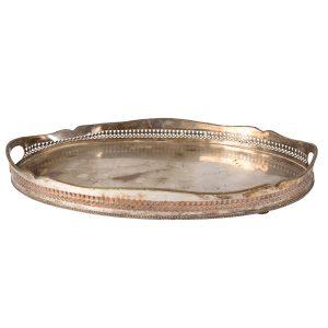 Dinnerware Silver Tray Round Antique Handles cm