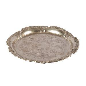 Dinnerware Silver Tray Round Floral Edge cm