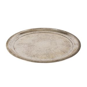 Dinnerware Silver Tray Round Swirl