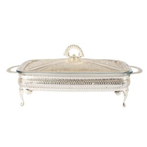 Dinnerware Silver Tureen with glass base