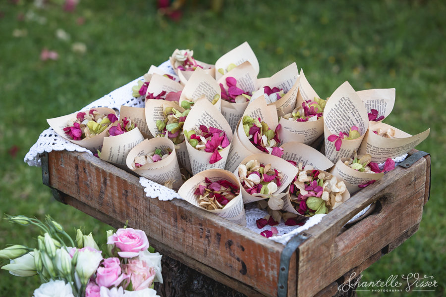 Flower Petals Wrapped In Vintage Pages