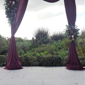 Gazebos and Arches  Post Wooden Gazebo Burgandy Draping