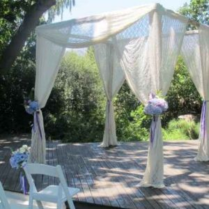 Gazebos and Arches  Post Wood Ivory Damask Lace