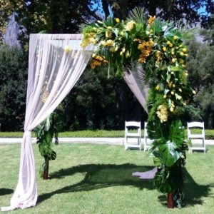 Gazebos and Arches  Post Wooden with soft white draping