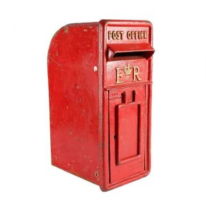 Gifts and Cards, Red British Mailbox with Door