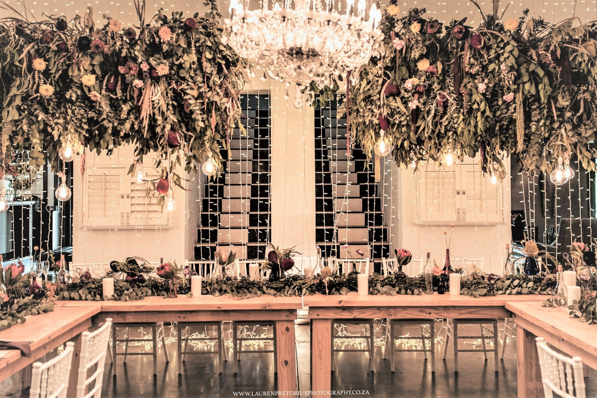 Hanging Wedding Decor Greenery And Flowers Ceilings With Lighting