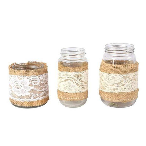 Jar Hessian and Lace Mixed