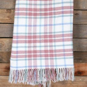 Linen Blankets Cream Pink Wool