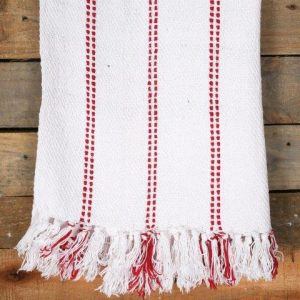 Linen Blankets White Red Wool