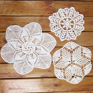 Linen Crochet Doilies Mixed