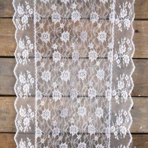 Linen Runners White Lace with Trim mx