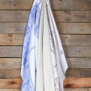 Linen Table Cloth Vintage Mixed Patterns